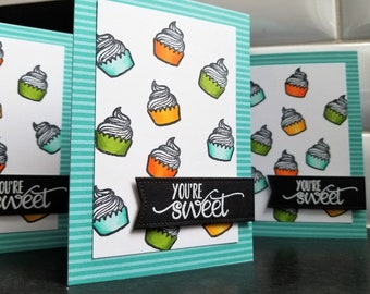 Cupcake Birthday Card, You're Sweet Thank You Card, I Love You Card, Anniversary Gift for Baker