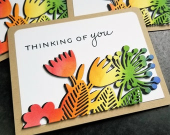 Rainbow Thinking of You Card, Encouragement Greeting, Sympathy, Birthday, Condolences, Support, Pet Loss, Any Occasion Card, Blank Card