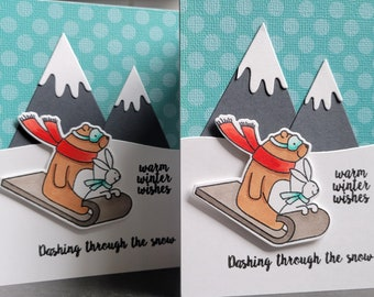 Handmade Christmas Card Set of 2, Holiday Card Set, Dashing Through the Snow, Sled Cards, Mountain Lover Gift, Winter Stationery