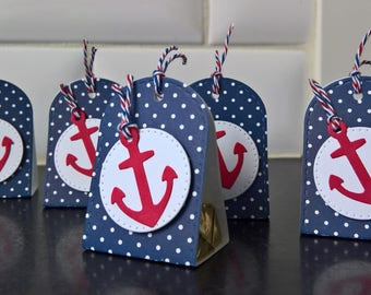 Nautical Party Favors Set of 5, Nautical Baby Shower Decor, Candy Wrappers, July 4th, Hershey Nugget Candy Packages