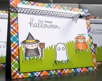 Happy Halloween Greeting Card, Witch Card for Children, Kids in Costumes, Pumpkin Card
