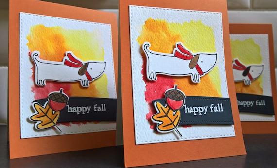 Dachshund Thank You Card, Doxie Greeting Card, Happy Fall Card, Wiener Dog Autumn Card, Sausage Dog Birthday Card