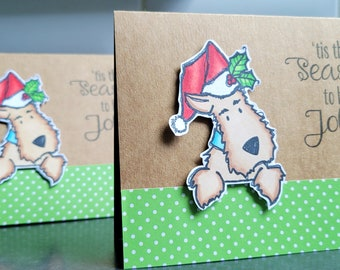 Airedale Terrier Christmas Cards Set of 2, Dog Holiday Cards Pack