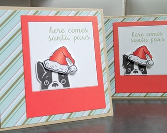 French Bulldog Christmas Cards Set of 2, Frenchie Holiday Cards, Dog Lover Gift, Santa Paws