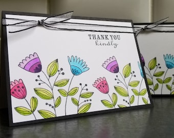 Floral Thank You Cards Set of 2, Gift for Gardener, Baby Shower Thank You Notes, Floral Stationery, Summer Greeting Cards, Birthday Gift