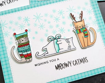 Cat Christmas Card, Meowy Catmas, Kitty Holiday Greeting Card, Gift for Cat Lover