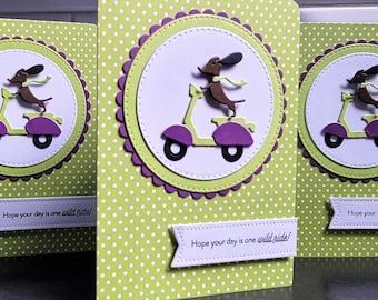 Weiner Dog Birthday Card, Doxie Greeting Card, Dog Lover Gift, Dachshund Congratulations Card, Vespa, Weiner Dog Gift, Sausage Dog Wild Ride