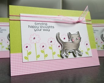 Cat Birthday Card, Kitty Get Well Card, Any Occasion Greeting for Cat Lovers, Thinking of You, Kitten Gift, Cat Sympathy, Spring, Pet Loss