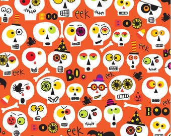 1 Panel Cotton Quilt Halloween Fabric Skeletons /& Ghosts Boneheads by Ellen Crimi-Trent from Clothworks 12 Fat Quarters