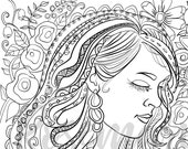 Pretty Pretty Adult Coloring Page Inspired by Carrie Underwood, Beautiful Woman, Instant Digital Download PDF, 8.5 x 11, Coloring,