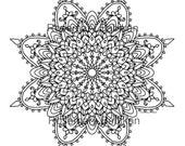 "Adult Coloring Mandala, Exquisite  Mandala, detailed, beautiful. Coloring is good for you. Instant printable download of 8"" mandala."