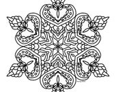 "Adult Coloring Mandala, Simple and Pretty Mandala, detailed, beautiful. Coloring is good for you. Instant printable download of 8"" mandala."