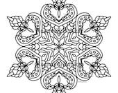"Adult Coloring Mandala, Simple and Pretty Mandala, detailed, beautiful. Coloring is good for you. Instant printable download of 8"" mandala."