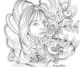 Pretty Adult Coloring  Page, Guardian Angel, Beautiful Woman, Instant Download PDF, 8.5 x 11, Stress Relieving Coloring, Selena