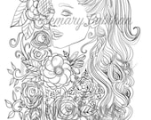 Instant Digital Download, Adult Coloring Page, Inspired by Ariana Grande and Flowers and Roses,  600 DPI in JPEG, 8..5 x 11 inches.