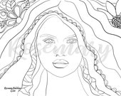 Pretty Adult Coloring Page Inspired by Selena Gomez, Beautiful Woman, Instant Download PDF, 8.5 x 11, Stress Relieving Coloring, Selena