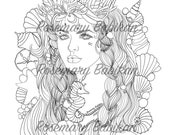 Adult Coloring Page of a Pretty Mermaid, Elizabeth, adorned with a Mermaid Crown, Pearls and Shells, Simply Beautiful Face! Instant Download