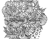 """Adult Coloring Instant PDF Download of My December Doodle, 8"""" by 8"""" square on 8.5 x 11' Printable. Coloring for relaxation and stress relief"""