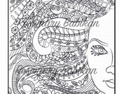 Adult Coloring Page of a Pretty Face with Beautiful Hair, Instant Printable Digital Download, PDF file, illustration for coloring, hand done