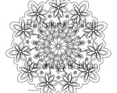 "Adult Coloring Mandala, Exquisite  Mandala, detailed,  beautiful. Coloring is good for you. Instant printable download of 8"" mandala."