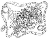 Coloring Page Download, Wedding, Bridal, Adult Coloring Page, Party Supplies, Shower Games,  Bouquet, Creative Coloring, Activities