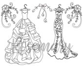 Coloring Page Download, Wedding, Bridal, Adult Coloring Page, Bridesmaid Dresses, Shower Games,  Stress Relief, Flowers, Fun to color