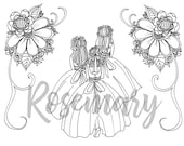 Pretty Coloring Page Download, Wedding, Bridal, Adult Coloring Page, Party Supplies, Shower Games,  Creative Coloring, Activities