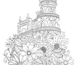 Adult Coloring Page, Castle on a Hill, Floral, Flowers, Hand Drawn Castle with Flowers by the artist, Printable Coloring Page for Adults