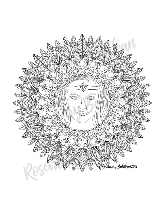 Angel Coloring Pages, Adult Coloring, Detailed Beautiful Angel for Instant  Download, Angel Mandala Coloring Pages, Digital download