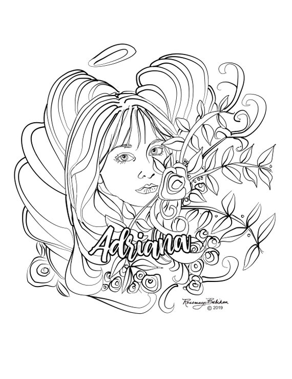 Personalizing the Name, Angel Coloring Pages, Birthday gift, Confirmation,  Holy Communion Gift, Digital Download, Color and DIY Gift