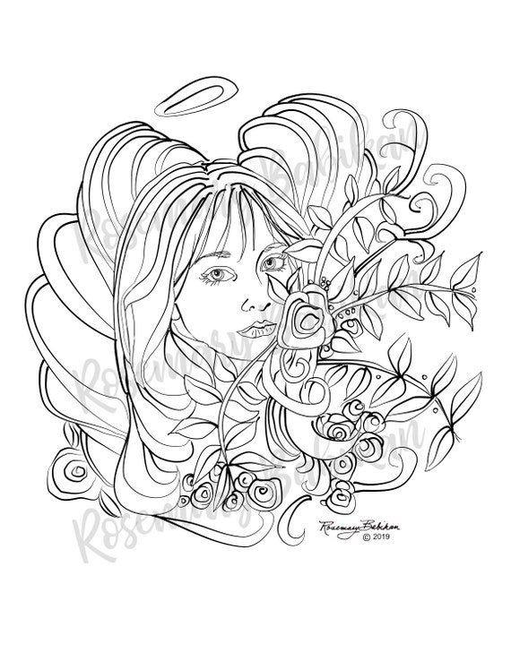 Pretty Adult Coloring Page Guardian Angel Beautiful Woman Etsy