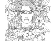 Adult Coloring Page of a Pretty Face, Lily, with Flowers in her hair, Flowers Everywhere and Simply Beautiful! Instant Download