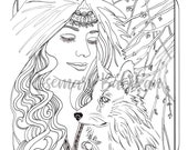 Adult Coloring Page PDF Instant download, Mindy and Her Wolf from my series of Pretty Women, Digital File of Woman and Wolf, Instant File