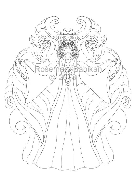 Instant Download Angel Coloring Page Archangel Michael | Etsy