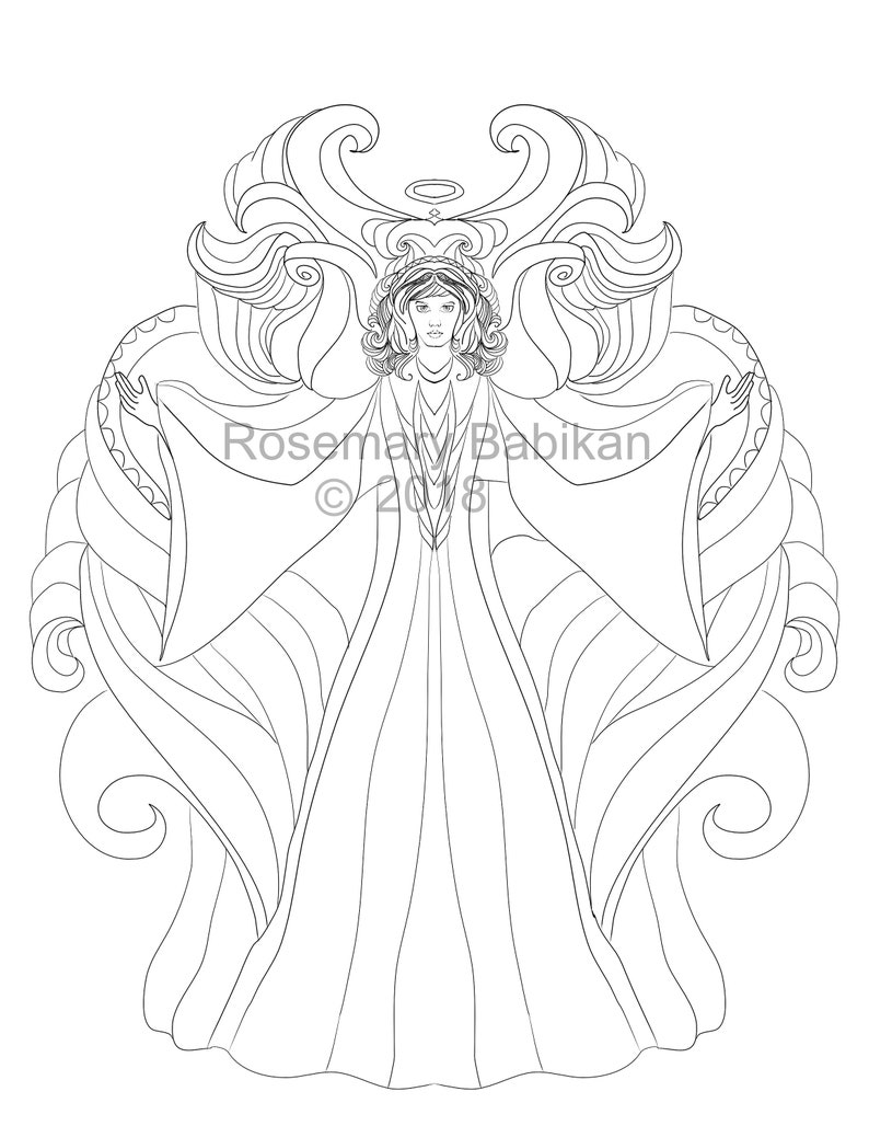 Pretty Instant Download, Angel Coloring Page, Archangel Michael, Beautiful  Angel Coloring Page, Adult Coloring, Angels, Spiritual, Digital
