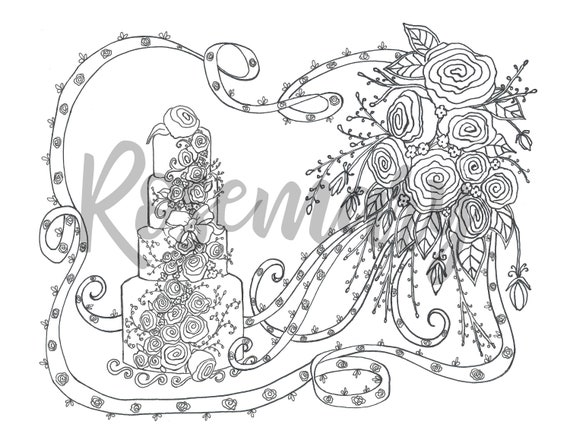 Coloring Page Download Wedding Bridal Adult Coloring Page Etsy