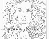 Adult Coloring Page of Simple Young Girl, Mia with Curly Hair, and Simply Beautiful!  Instant Download PDF, 8.5 x 11