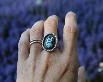 Rivulet Ring // Size 8 // Sterling Silver andTurquoise  // Hand Crafted // Artisan // Eco Friendly // Kiss the Rain Collection