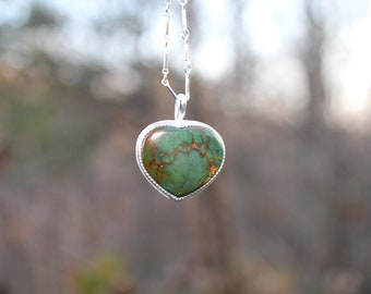 Green at Heart //  Royston Turquoise Heart Pendant // Sterling Silver // Hand Crafted //Artisan//Eco Friendly//Colors of the Wind Collection