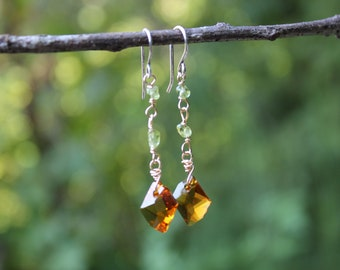 Pumpkin Patch Dangles // Peridot, Sterling Silver, Gold Fill, Asfor Crystal // Hand Crafted // Artisan // Eco Friendly // Cider Collection