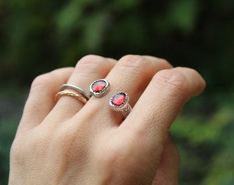 Honey Crisp Ring // Garnet and Sterling Silver Open Band // Hand Crafted // Artisan // Eco Friendly // Cider Collection