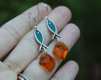 Fall River // Vintage Sterling Silver and Crystal Dangle Earrings // Hand Crafted // Artisan // Eco Friendly // Cider Collection