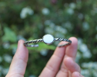 Trillium //  White Buffalo Cuff // Sterling Silver // Hand Crafted // Artisan // Eco Friendly // Michigan Wildflowers Collection