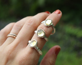 Autumn Floral Stackers //  Citrine and Sterling Silver // Hand Crafted // Artisan // Eco Friendly // Cider Collection