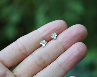 Bitty Forest Shroom Studs // Sterling Silver // Hand Crafted // Artisan // Eco Friendly // The Cider Collection