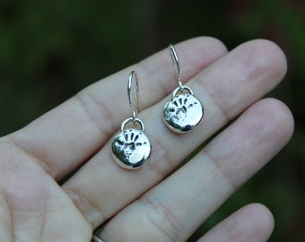 Little Chippies // Chipmunk Print Recycled Silver Drop Earrings // Hand Crafted // Artisan // Eco Friendly // Cider Collection