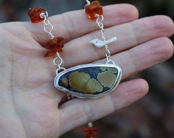 Fall Leaves // Hubei Turquoise and Amber Necklace //  Sterling Silver  // Hand Crafted // Artisan // Eco Friendly