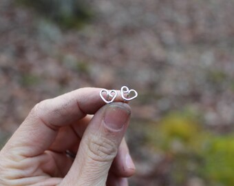 Simple Heart Studs // Reflection Collection // Sterling Silver // Hand Crafted // Artisan // Eco Friendly