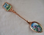 vintage Czechoslovakia souvenir spoon - gold, birds, enameled, gold-plated