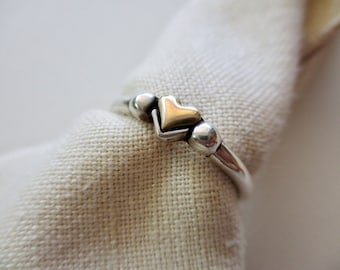14k gold heart and sterling silver band - size 6, vintage, 925
